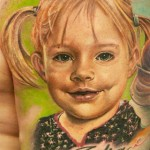 Andy Engel little girl portrait tattoo