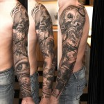 niki Norberg monochrome full sleeve tattoo