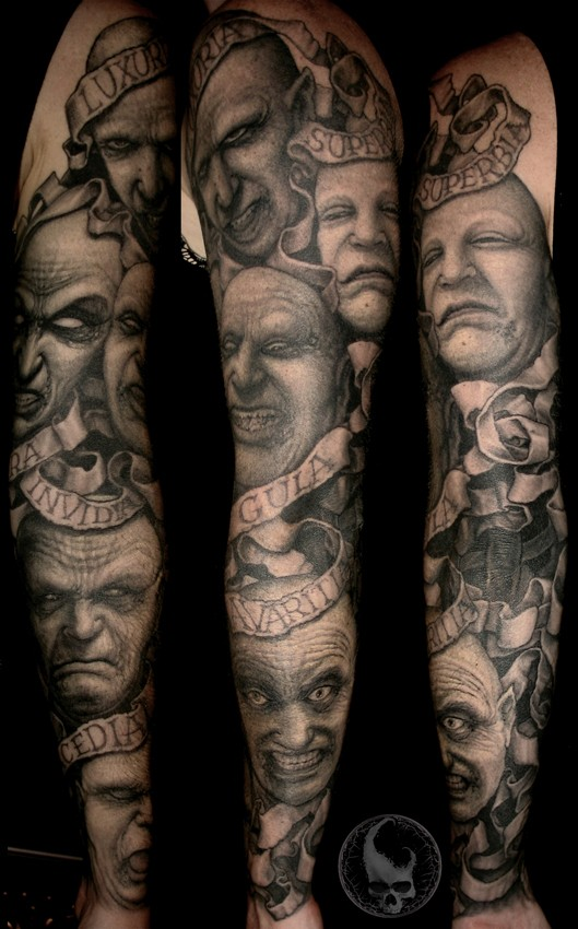 Original Full Sleeve Tattoo By Paul Booth Design Of