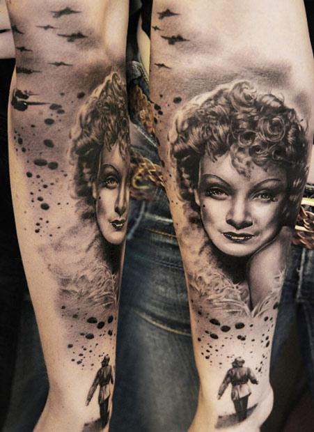 Andy Engel portrait tattoo designed on arm