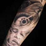 Niki Norberg realistic religious tattoo