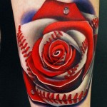 Andres Acosta red rose tattoo