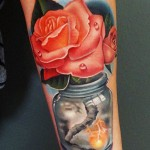 Andres Acosta red rose tattoo design
