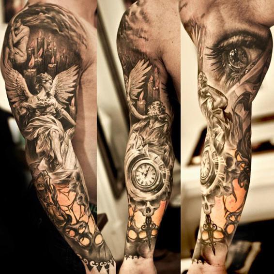 Niki Norberg religious full sleeve tattoo