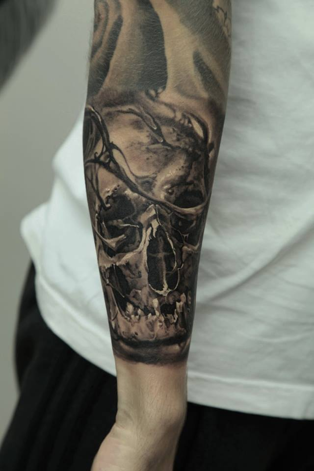 skull full sleeve by dmitriy samohin design of tattoosdesign of tattoos. Black Bedroom Furniture Sets. Home Design Ideas