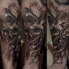Dmitriy Samohin skull full sleeve tattoo design