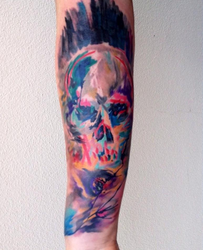 skull watercolor tattoo by Ondrash - Design of ...
