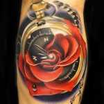 Andres Acosta time and rose tattoo design