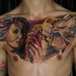 Csaba Kolozsvari chest tattoo design