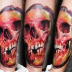 Robert Zyla colorful skull tattoo