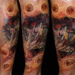 Csaba Kolozsvari colorful tattoo design