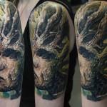 Csaba Kolozsvari dark full sleeve tattoo design