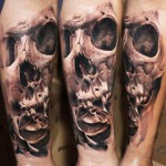 Robert Zyla detailed skull tattoo