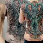 Csaba Kolozsvari detailed full back tattoo