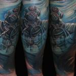 Csaba Kolozsvari blue full sleeve tattoo design