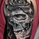 Robert Zyla rose and skull tattoo design