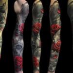 Max Pniewski black and red full sleeve rose tattoo