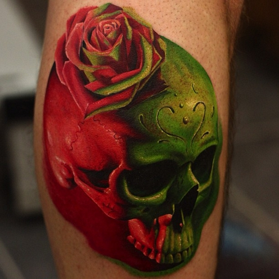 John Anderton colorful rose and skull tattpp
