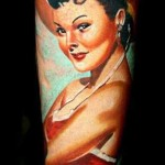 Janos Kovarik cute woman portrait tattoo