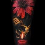 Max Pniewski flower and skull tattoo