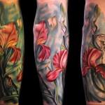 Max Pniewski flower tattoo in amazing colors