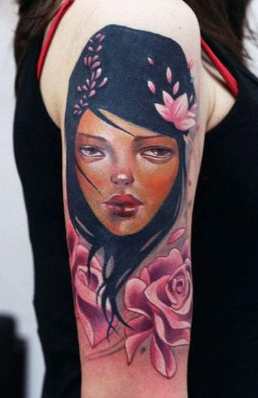 Darwin Enriquez girl portrait tattoo design