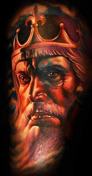 Mario Hartmann king portrait tattoo design