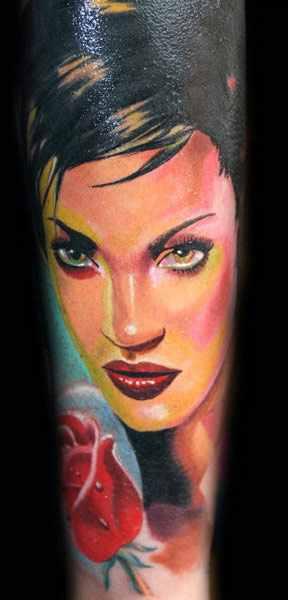 Janos Kovarik realistic woman portrait tattoo