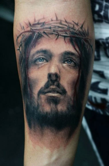 Darwin Enriquez religious portrait tattoo