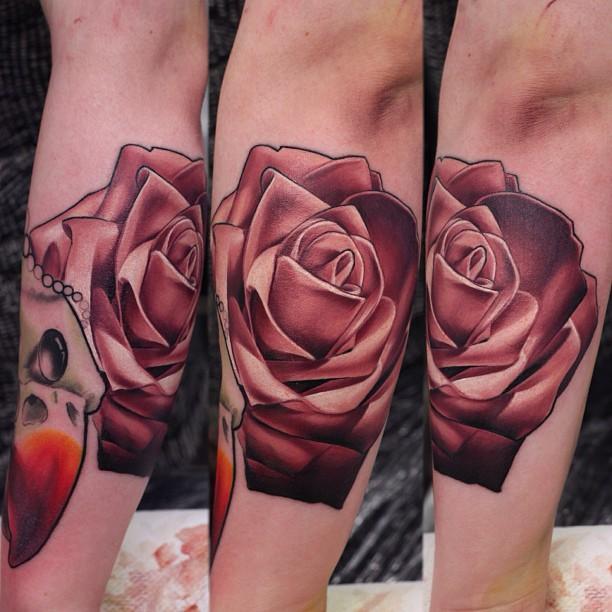 John Anderton rose tattoo design