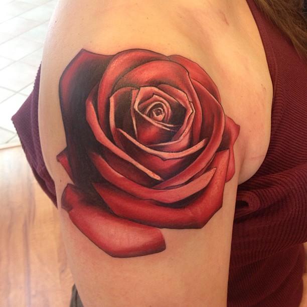 John Anderton simple rose tattoo