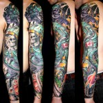 James Tex skull full sleeve tattoo design