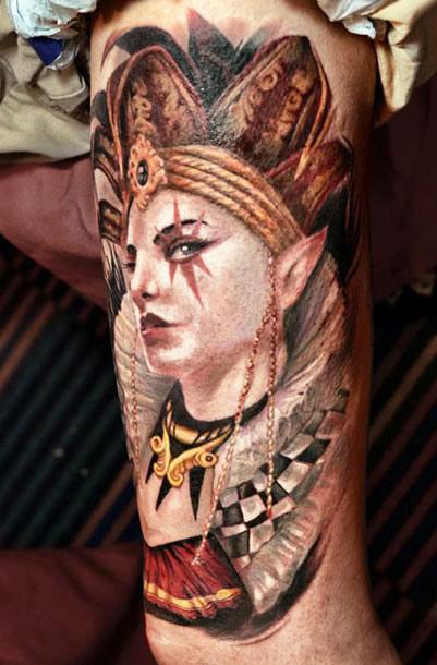 Darwin Enriquez portrait tattoo on sleeve