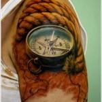 3D compass tattoo design