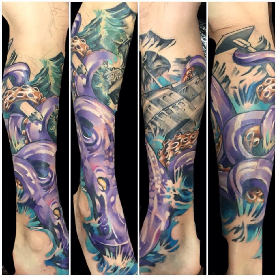 Joe Matisa color tattoo on leg
