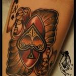 colourful spade tattoo design