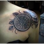 compass tattoo design on shoulder