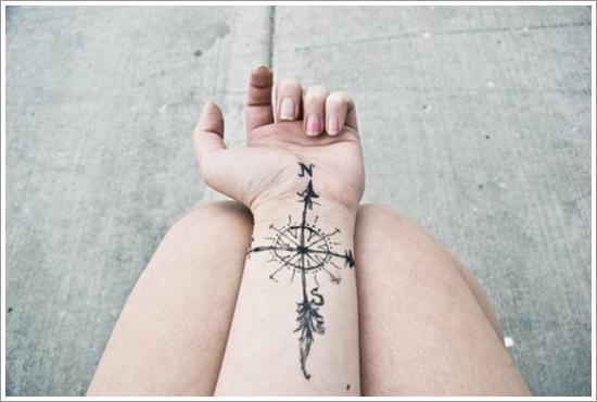 compass tattoo design on wrist