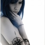 half sleeve compass tattoo design