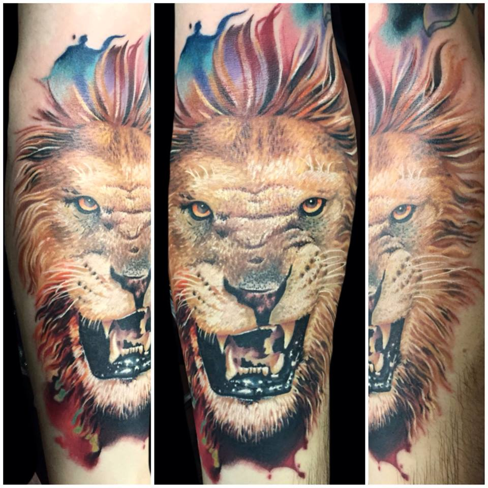 Joe Matisa lion tattoo