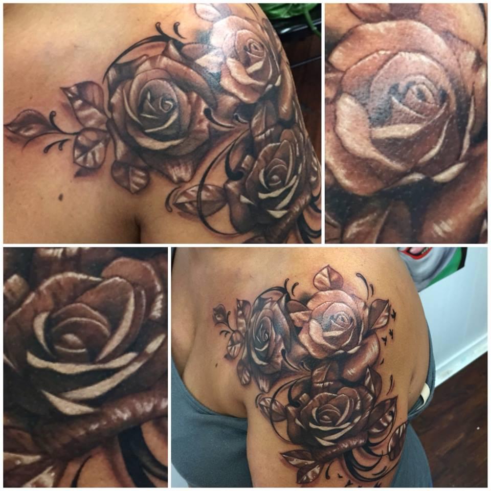 Joe Matisa rose tattoo design