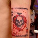 spade tattoo designed on sleeve