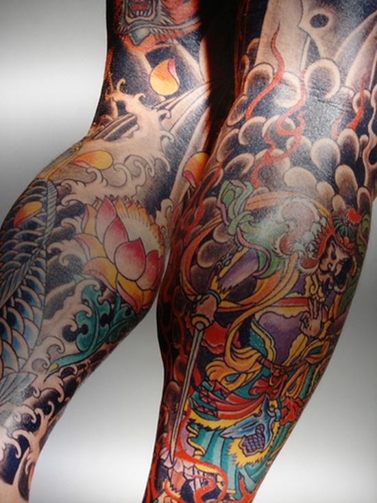 Yakuza Tattoo Designed On Both Legs Design Of Tattoosdesign Of Tattoos