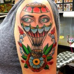 hot air balloon tattoo designed by Dusty Neal