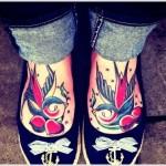 swallow tattoo on feet