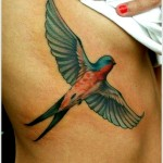 colourful swallow tattoo