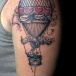 vintage style hot air balloon tattoo