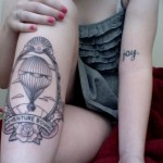 black ink hot air balloon tattoo design