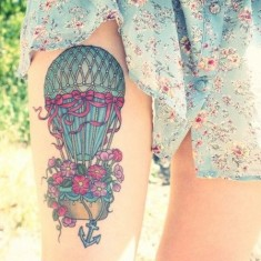 colourful hot air balloo tattoo design