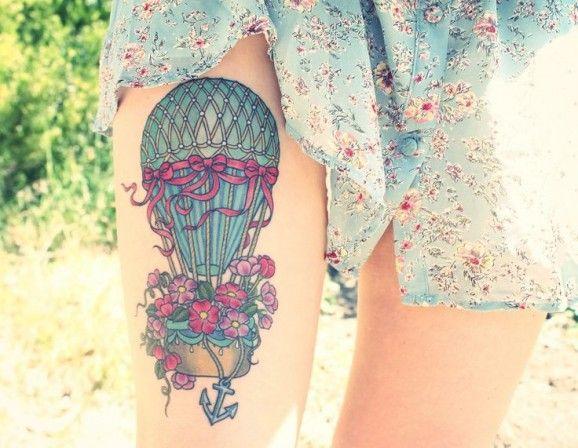 colourful hot air balloo tattoo design